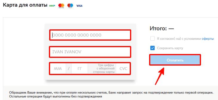 Ввод данных для оплаты услуги